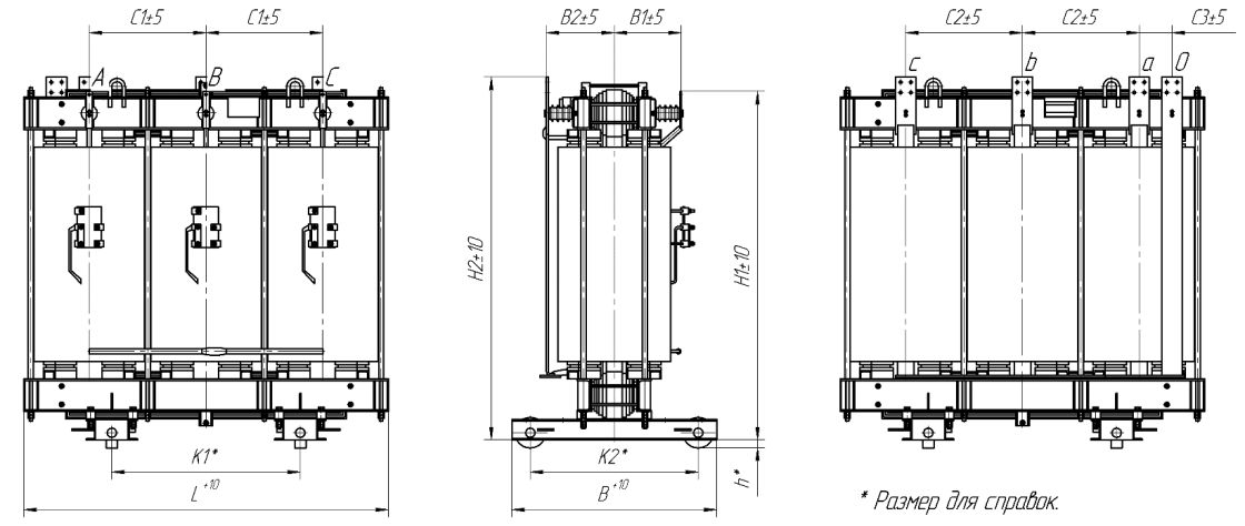 Basic weight and size specifications of general-purpose transformers, open-type IP00 (winding material - aluminium)